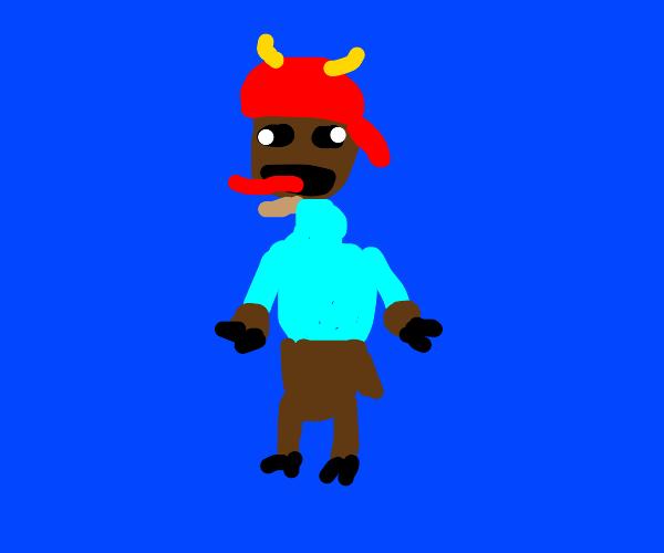 Goat dressed as yakko warner (animaniacs)
