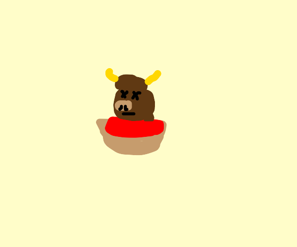a decapitated yak in some soup