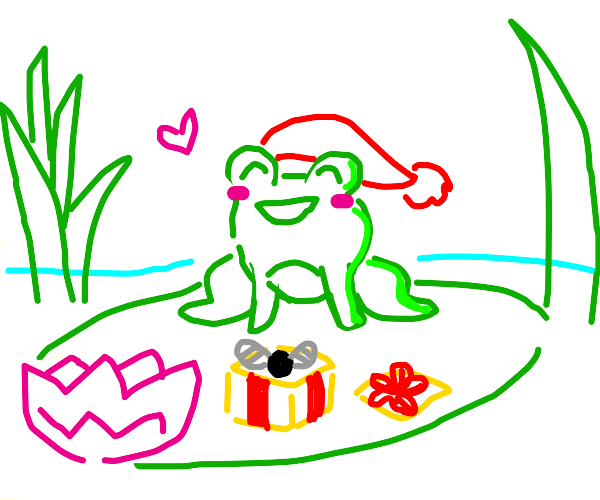 chistmas frog on waterlily got a fly as gift