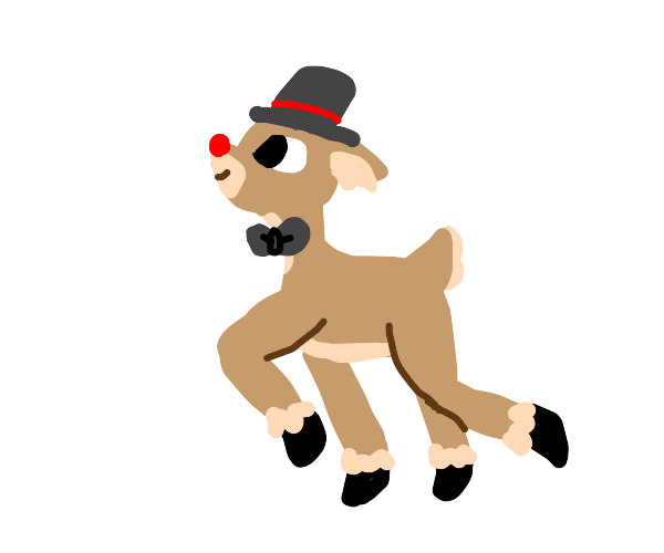 Skipping reindeer with bowtie and tophat