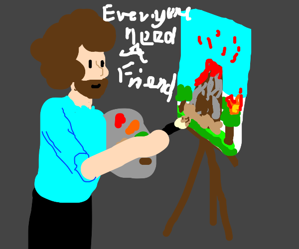 bob ross painting a volcano