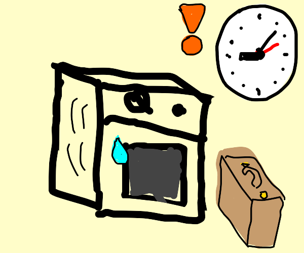 Old-fashioned microwave is late for work