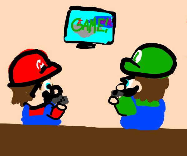 Mario and luigi play super smash bros