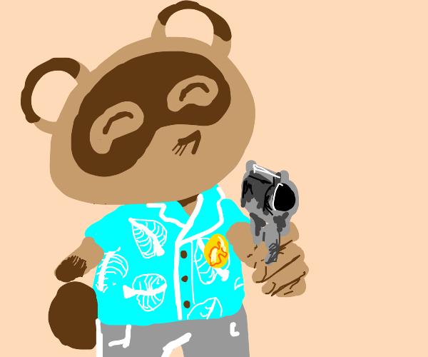 Tom Nook with a gun