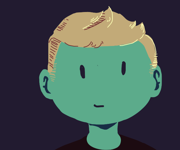 circular face guy with brownhair blackbackgro