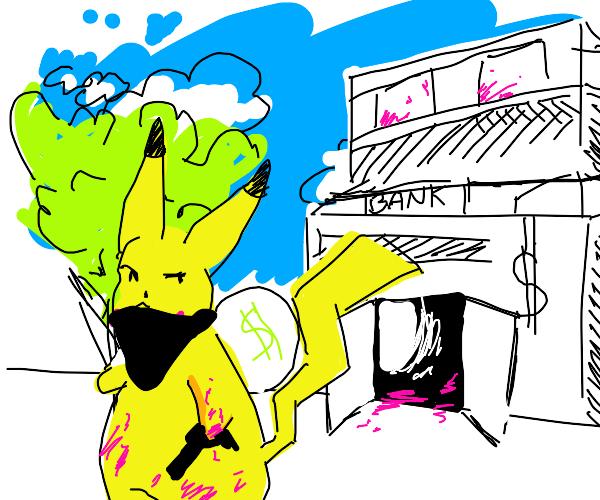 Pikachu shoots up a bank.