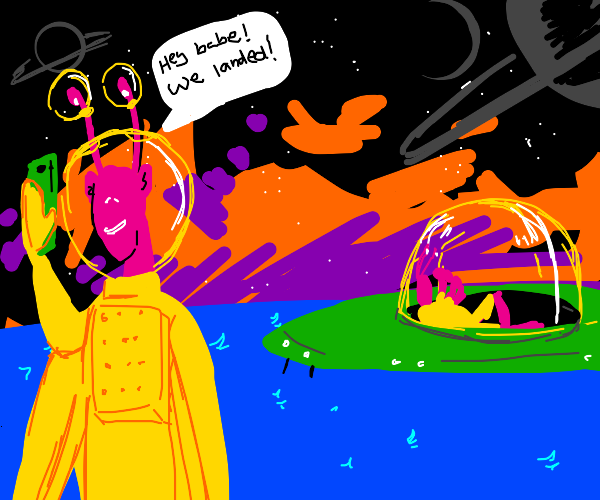 An alien phones his girlfriend