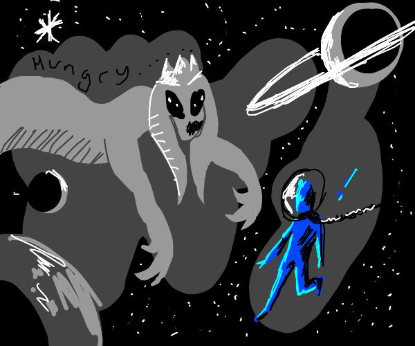alien queen wants to eat blue man in space