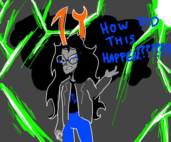 Vriska asks how this happened. (Who's Vriska)