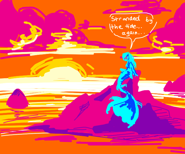 Mermaid stranded on an island and emberressed
