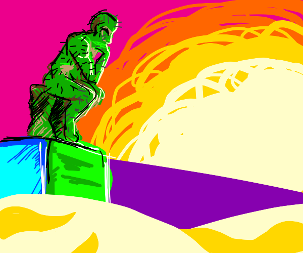 Cactus man as the Thinker