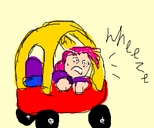man in toy car having a panic attack