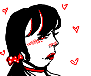 Lady with a red scrunchy and chocker