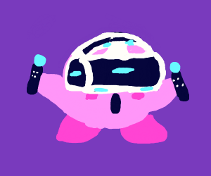 Kirby playing ps4 vr set