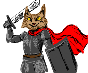 cat in knights armour & red cape