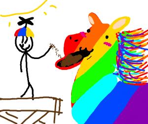Feeding a rainbow horse