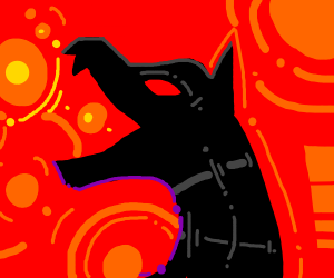 Howling wolf with red eyes