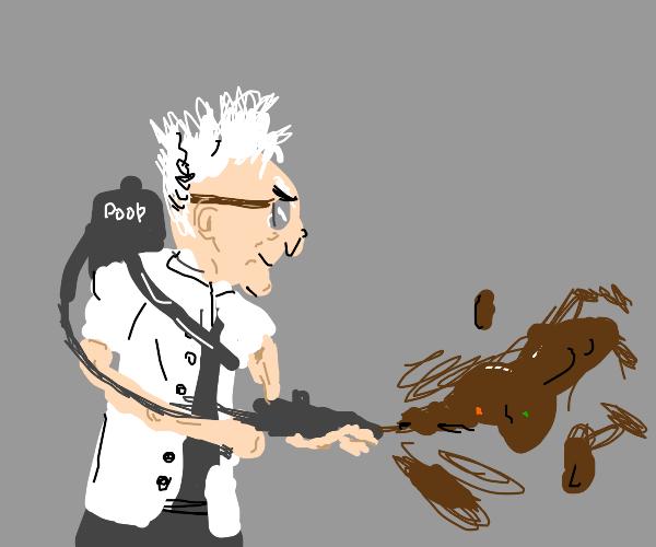 evil sciencetist using poop powers