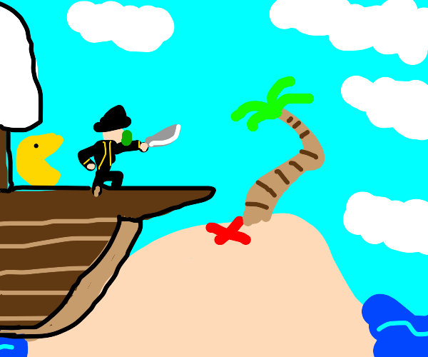 Pirate and pac-man finds treasure