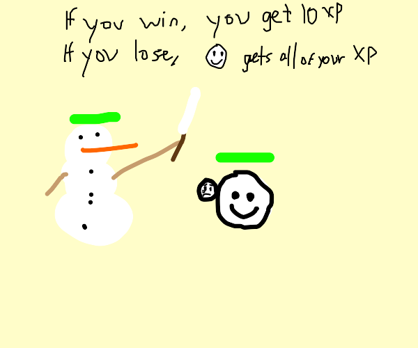 Snowman duels an emoji for 10 XP