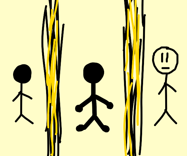 3 people surrounded by black and yellow lines