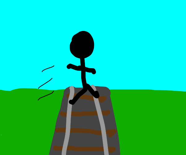 Stickman jumping over the Tracks