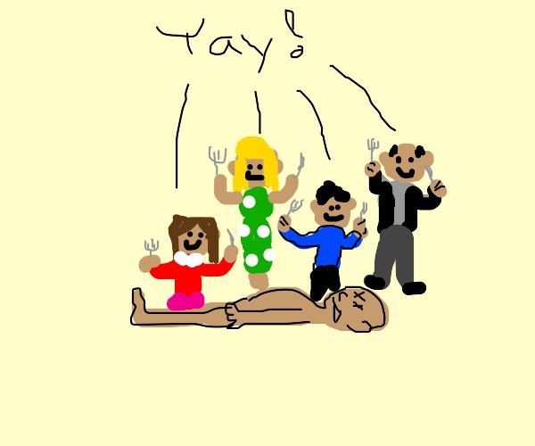Happy cannibal family