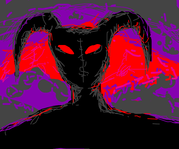 black demon with red eyes
