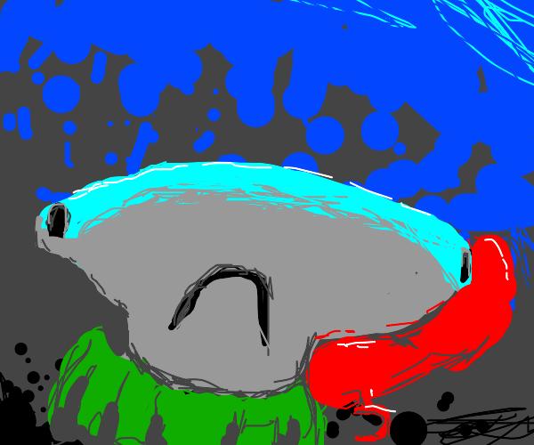 Green hammerhead shark in sweater and phone