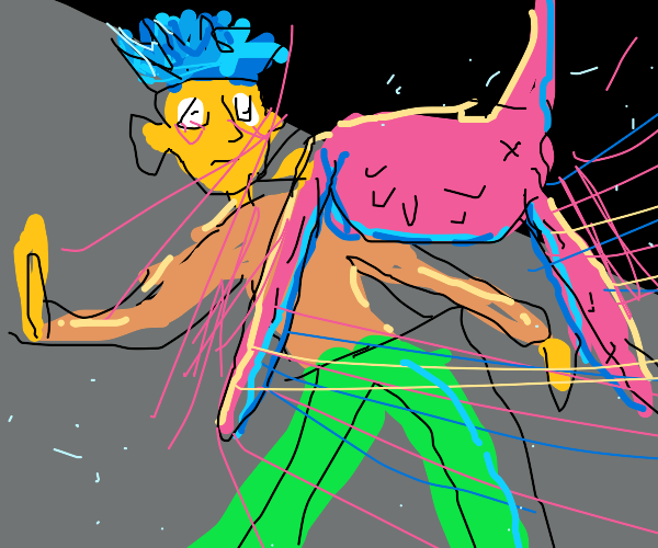 Man with blue hair attacked by pink bird