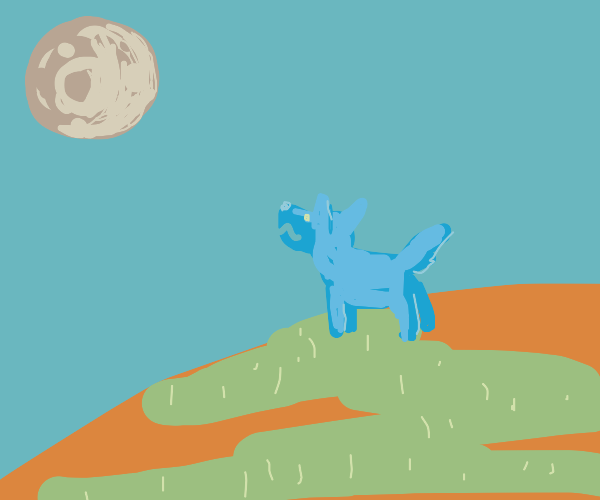 Dog barks at the moon