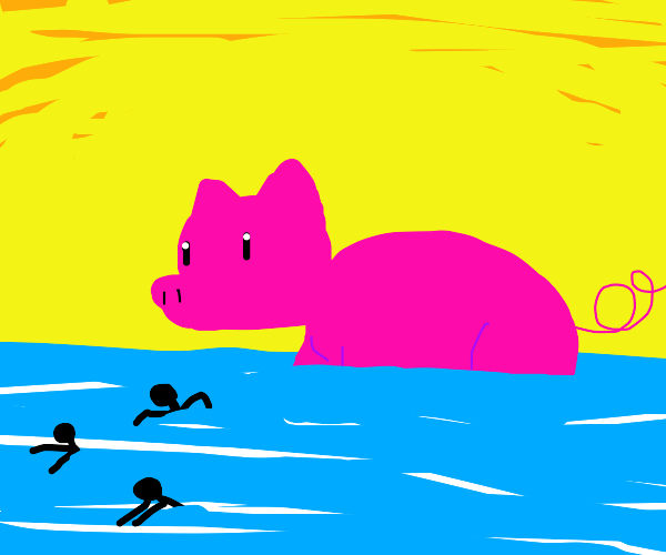 giant pig in the ocean chasing it's victims