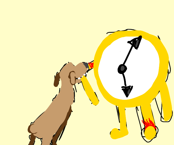 Dog biting huge clock with arms &legs