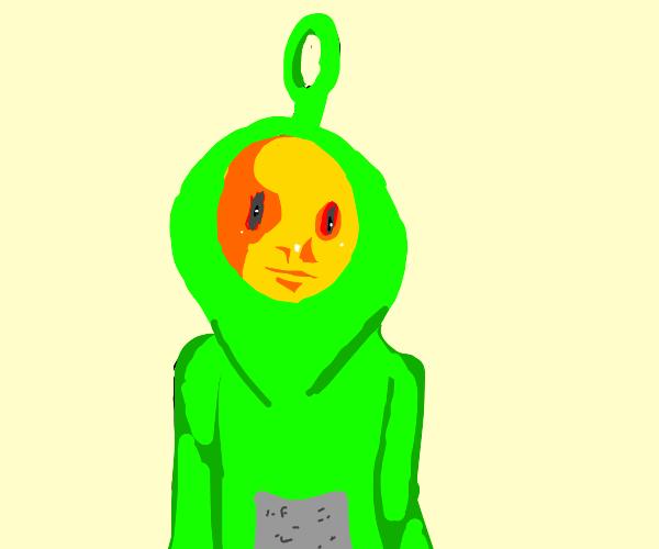creepy yellow man in green teletubbie costume
