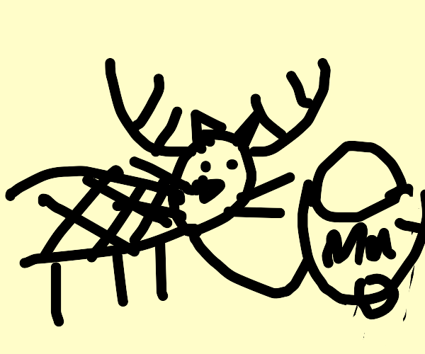 A cat-deer-turtle carrying a bowl of mayo