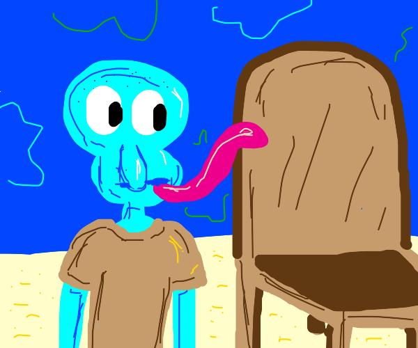squid licking a chair