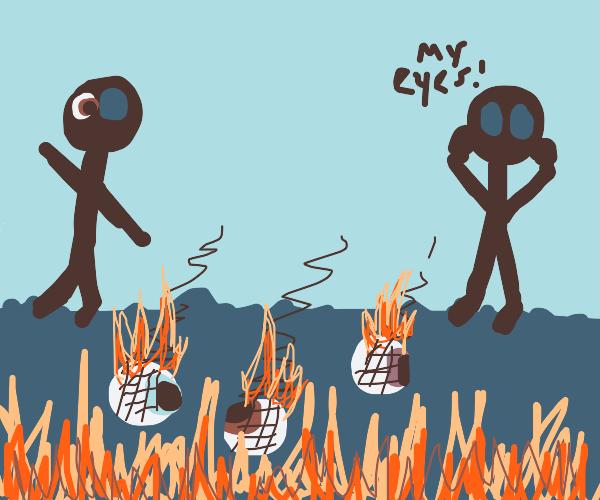 burnt eyeballs on the ground