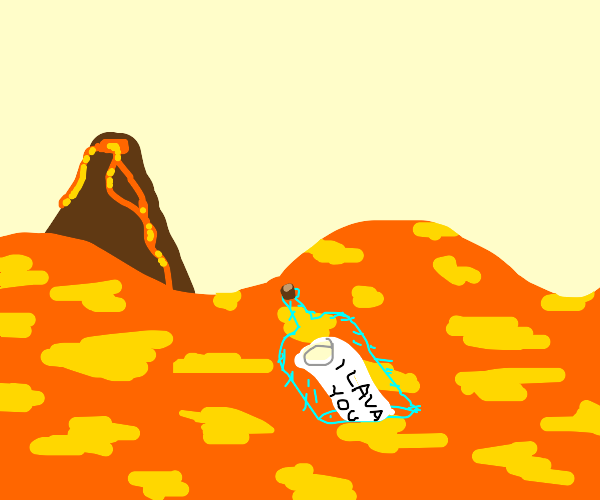 Hairy bottle floats above lava and makes puns