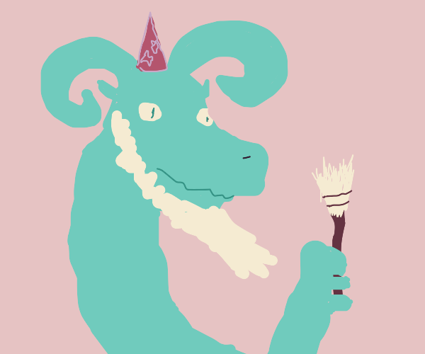 Dragon-wizard-goat holds a broom