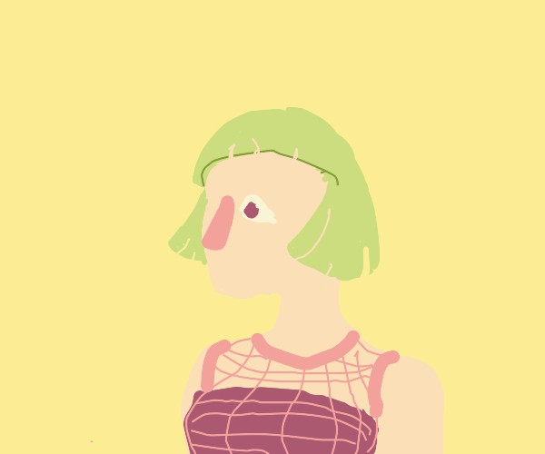 girl with green hair and pink mesh shirt