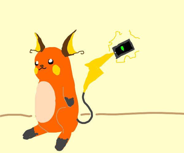 trainer charging their phone on their raichu