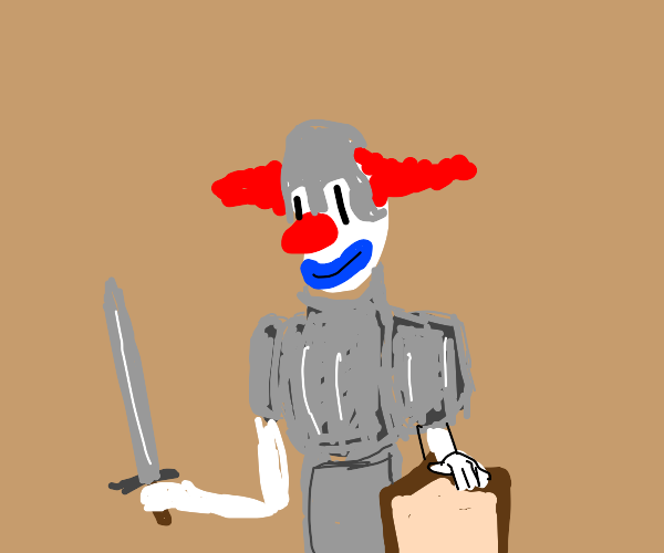 Clown becomes a knight