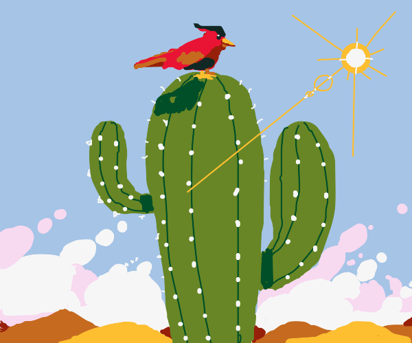 A red bird on a cactus