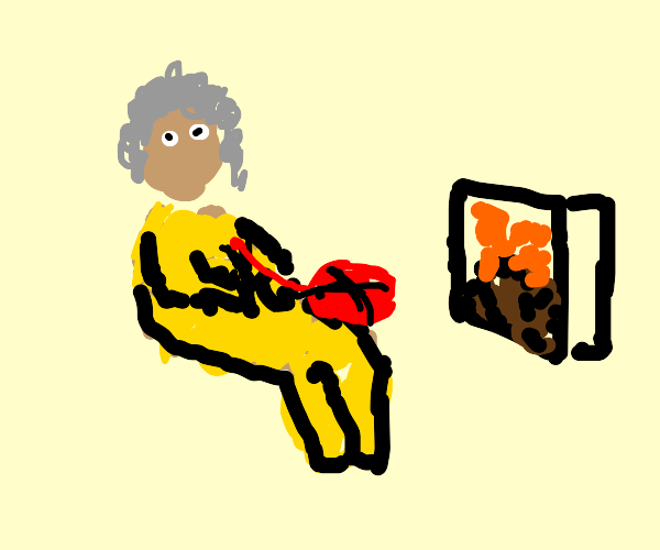 Old lady knitting nearby a fireplace