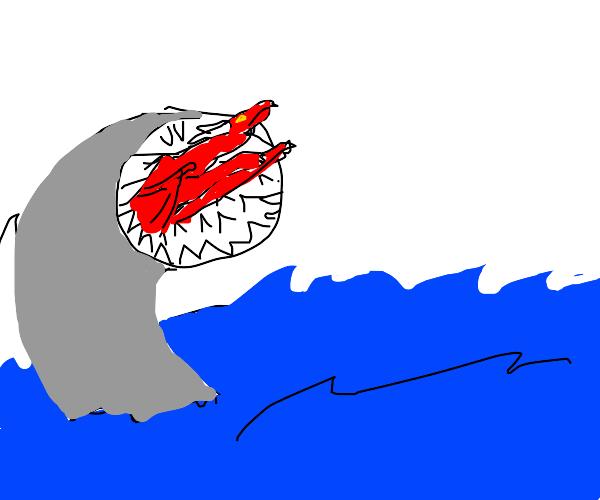 A lamprey eating a dragon