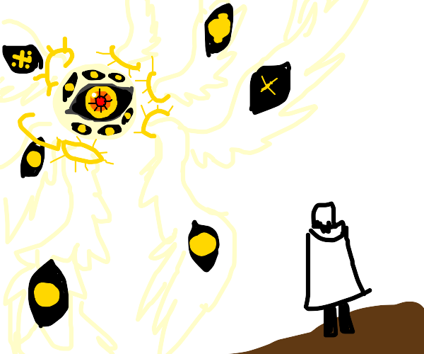 angel visiting person standing on Earth