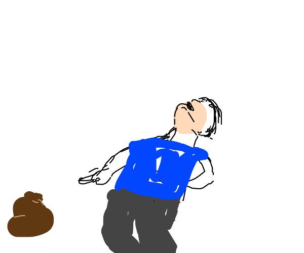 guy laughing at poop