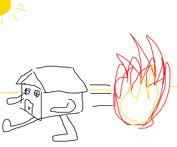 your house running from fire