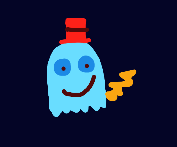 Blue ghost with yellow tail and top hat