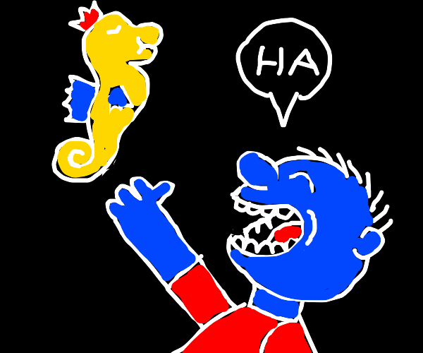 Kid laughs at floating seahorse